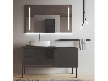 Mobile lavabo da terra in nobilitato con ante SEGNO | Mobile lavabo con ante