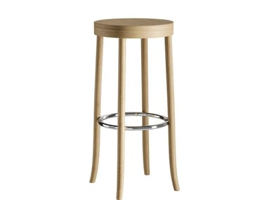 High solid wood stool with footrest SELECT | Stool
