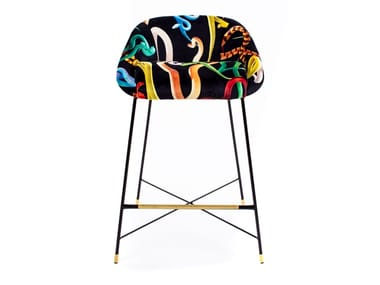 High upholstered fabric stool with back SNAKES | Stool