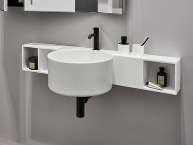 Round single wall-mounted ceramic washbasin SELLA