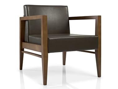 Cadeira lounge de pele com braços SERENA | Cadeira lounge