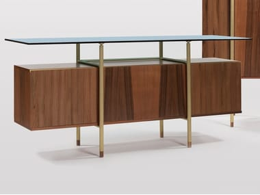 Sideboard with flap doors in walnut and glass top SERICA | Sideboard