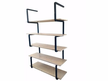 Open steel and wood shelving unit SERIES