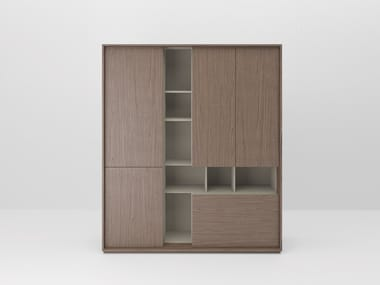 Wooden office storage unit with hinged doors SESSANTA | Tall office storage unit