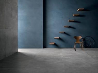 Pavimento/rivestimento in gres porcellanato effetto cemento SET CONCRETE DARK