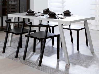 Rectangular wood veneer table SEVEN   Rectangular table