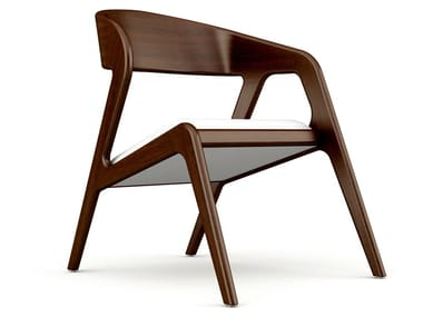 Wooden easy chair with integrated cushion SEVILLE