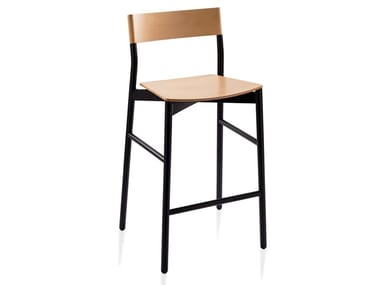 High wooden stool with back SG-NAVIA