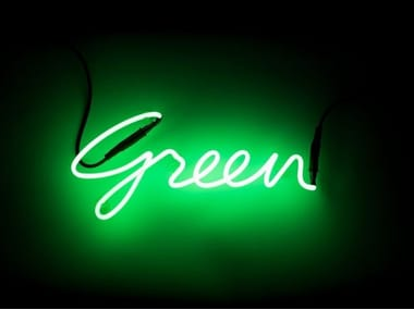 Wall mounted Light letter SHADES GREEN
