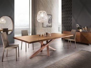 Tavolo rettangolare in noce e alluminio SHANGAI | Tavolo in noce