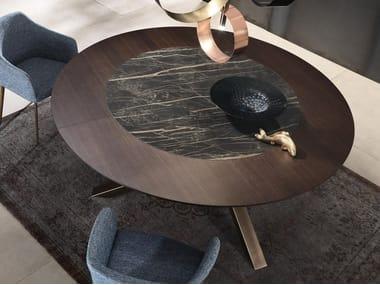 Tavolo rotondo in legno con inserto in ceramica SHANGAI | Tavolo rotondo