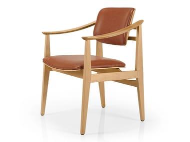 Cadeira de pele com braços SHANNA M1056CWUUST