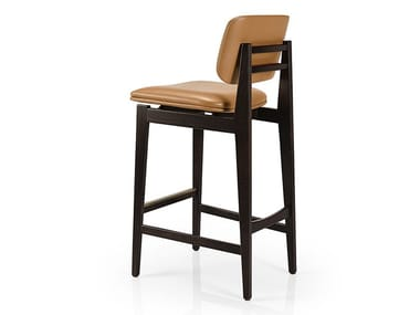 Leather barstool with footrest SHANNA M1060UUST