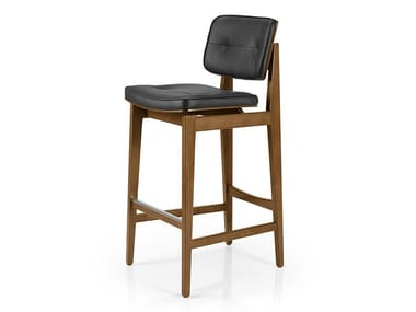 Leather barstool with footrest SHANNA M1060WUUCR
