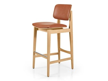 Leather barstool with footrest SHANNA M1060WUUST