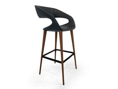 High upholstered stool with armrests SHAPE | Stool