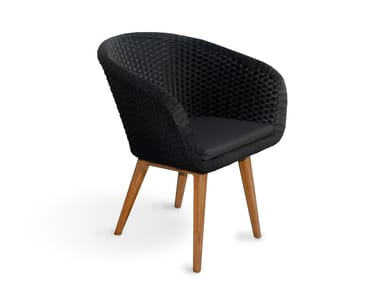 Synthetic fibre garden chair with armrests SHELL CHAIR TEAK
