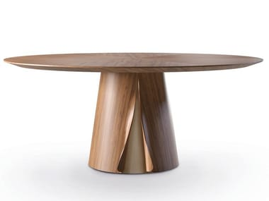 Round wood veneer dining table SHELL