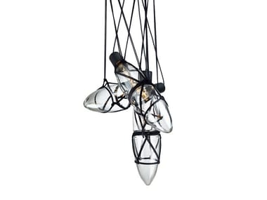 Blown glass pendant lamp SHIBARI
