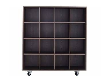 Open solid wood bookcase with casters SHIGETO BOX