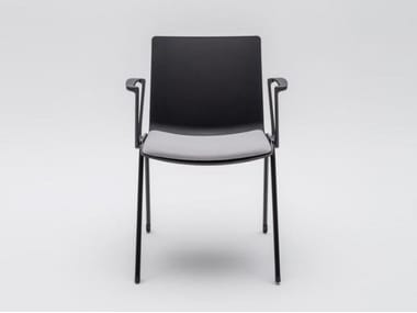 Plastic reception chair with integrated cushion SHILA | Chair with armrests