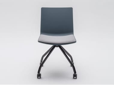 Trestle-based plastic chair with castors SHILA | Trestle-based chair