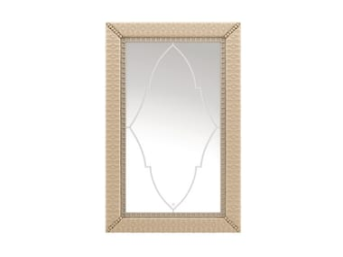 Rectangular framed wall-mounted leather mirror SHIRLEY | Mirror