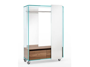 Mirrored wardrobe with casters SHOJI | Wardrobe with casters