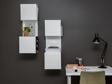 Wall-mounted powder coated aluminium bookcase SHOWCASE#3