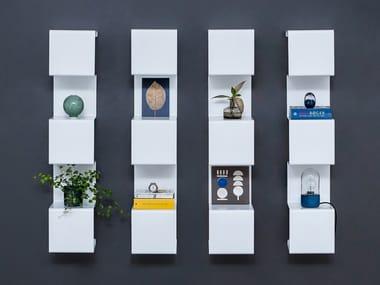 Wall-mounted powder coated aluminium bookcase SHOWCASE#4