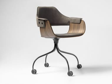 Swivel upholstered chair with castors SHOWTIME | Chair with castors