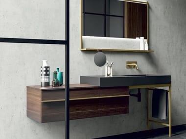 Single wall-mounted wood veneer vanity unit with drawers SIDÉRO COMP. 3