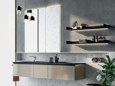 Lacquered wall-mounted vanity unit with towel rail SIDÉRO COMP. 7