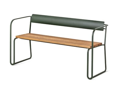 Stackable outdoor bench with a metal frame and oak seat SIGILL