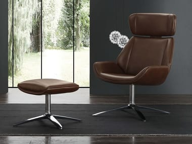 Swivel Eco-leather armchair with footstool SIGMUND