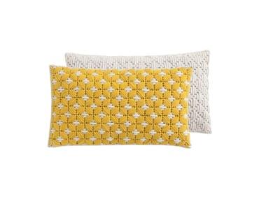 Rectangular hand embroidered fabric cushion SILAÏ | Rectangular cushion