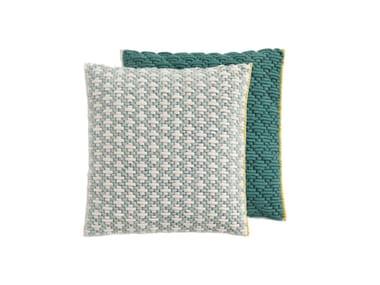 Square hand embroidered fabric cushion SILAÏ | Square cushion