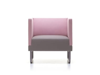 Upholstered fabric armchair with armrests SILENCE-AL