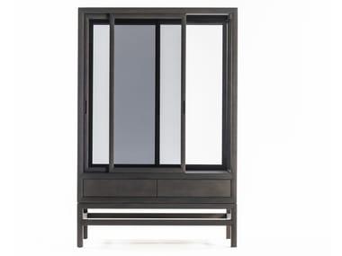 Armoire en bois et verre à portes coulissantes SILENT | Armoire en bois et verre