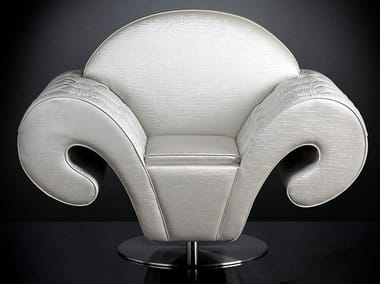 Swivel fabric armchair with armrests SILHOUETTE | Swivel armchair