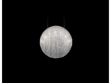 Lampada a sospensione fatta a mano in acciaio e cristallo SILK   Lampada a sospensione in acciaio e cristallo