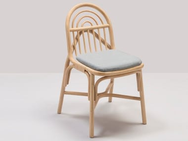 Rattan chair with integrated cushion SILLON