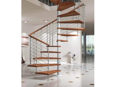 Square wooden Spiral staircase SILVER FX
