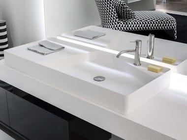 Lavabo da appoggio rettangolare in Flumood® SIMPLO | Lavabo rettangolare
