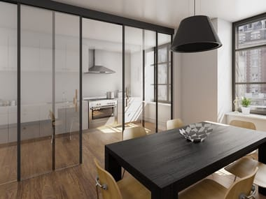 Contemporary style wood and glass sliding door SINTHESY QUADRA TOTAL BLACK