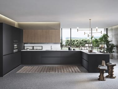 Lacquered kitchen with peninsula SISTEMA 22 - ENVIRONMENT 05