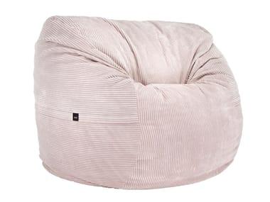 Upholstered fabric bean bag CORD VELOURS BEAN BAG