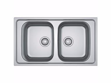 Lavello a 2 vasche da incasso filo top in acciaio inox NEX 220 By FRANKE