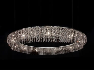 Direct light metal pendant lamp with crystals sky cycles rectangle