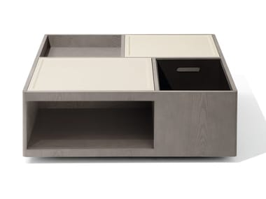 Contemporary style square wooden coffee table with storage space for living room SKYLINE | Square coffee table